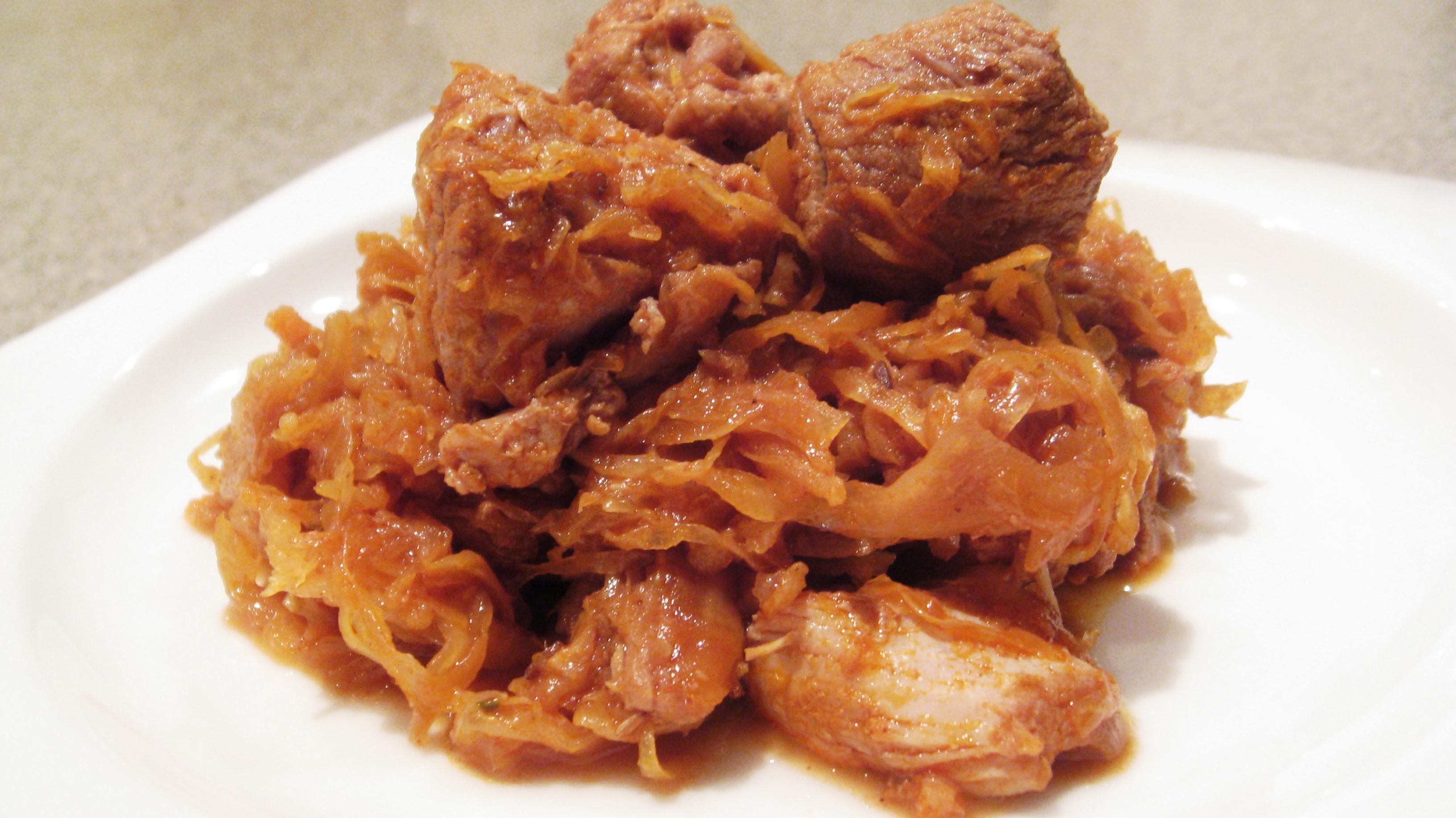Тушеная свинина с капустой рецепт с пошагово