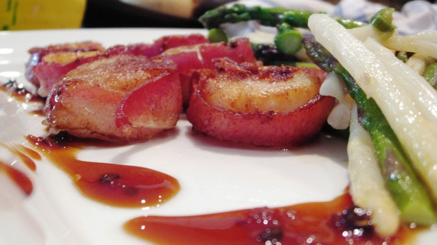 amino glazed cod bacon wrapped scallops black cod medallions with ...